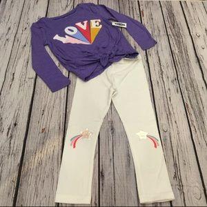 Old Navy 2T 3T 4T 5T Love Top & Star Rainbow Pants